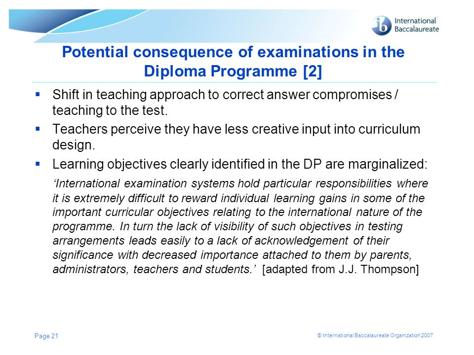 Potential consequence of examinations in the Diploma Programme [2]